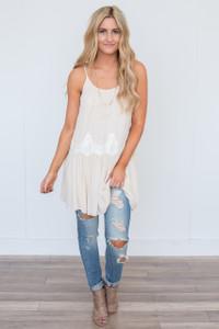 Lace Detail Tassel Tie Tunic Dress - Cream