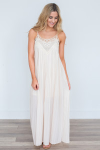 Sleeveless Pleated Maxi Dress - Cream - FINAL SALE