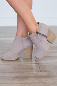 Side Zipper Peep Toe Bootie - Taupe
