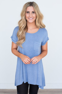 Short Sleeve Pocket Tunic - Blue - FINAL SALE