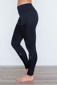 Moto Stitch Mesh Work Out Leggings - Black