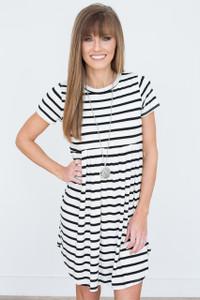 Striped Babydoll Dress - Ivory/Black