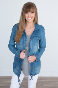 Drawstring Waist Denim Jacket - Medium Wash