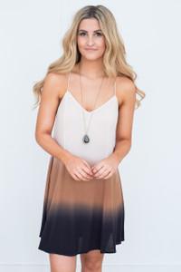 Tassel Tie Dip Dye Dress - Tan/Black