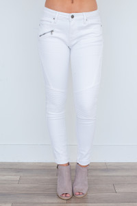 Zipper Detail Moto Pants - White