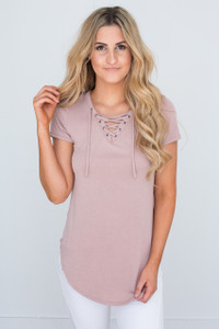 Short Sleeve Lace Up Tunic - Dusty Pink