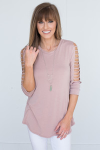 Solid Cutout Sleeve Tunic - Dusty Pink - FINAL SALE