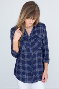 Plaid Button Down Blouse - Navy/Ivory