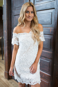 Off The Shoulder Lace Dress - Off White
