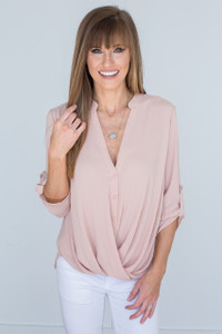 Button Detail Wrap Front Blouse - Blush