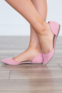 Suede Pointed Toe Flats - Pink