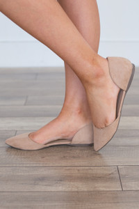 Suede Pointed Toe Flats - Natural