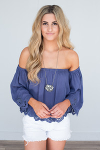 Embroidered Off The Shoulder Blouse - Indigo