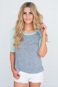 Baseball Sleeve Tunic - Heather Navy/Mint