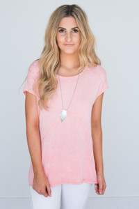 Acid Wash Short Sleeve Tunic - Peach