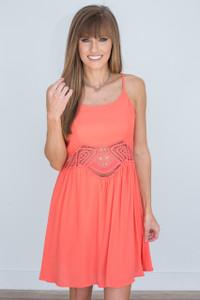 Crochet Detail Sleeveless Dress - Coral - FINAL SALE