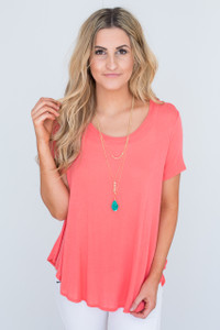 Solid Short Sleeve Tunic - Coral