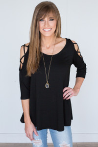 Cutout 3/4 Sleeve Tunic - Black
