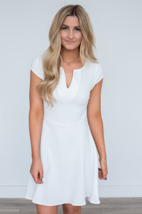 Everly Solid Cap Sleeve Dress - Ivory - FINAL SALE