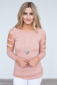 Cutout Long Sleeve Top - Salmon