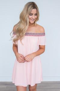 Printed Neckline Off The Shoulder Dress - Blush