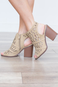 Tiffany Slingback Peep Toes - Beige - FINAL SALE
