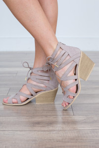 Lace Up Sandal - Taupe - FINAL SALE