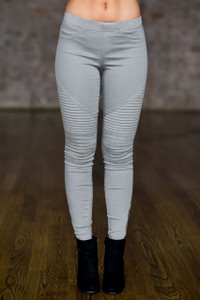 Zipper Detail Moto Stitch Leggings - Light Grey