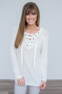 Lightweight Lace Up Sweater - Off White - FINAL SALE