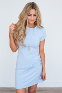 Everly Side Ruched Dress - Baby Blue - FINAL SALE