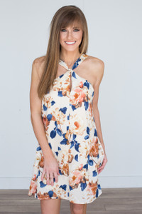 Sleeveless Floral Print Dress - Cream/Navy/Rust - FINAL SALE