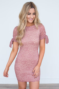 Tie Sleeve Lace Dress - Mauve - FINAL SALE
