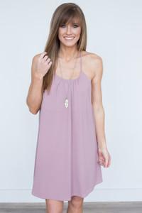 Floral Lace Back Dress - Dusty Mauve