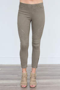 Zipper Detail Moto Stitch Leggings - Olive