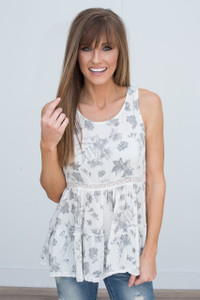 Floral Print Sleeveless Tunic - Ivory/Grey