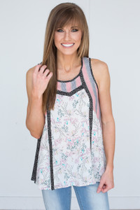 Mixed Print Sleeveless Top - Multi