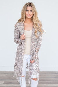 Fringe Trim Cardigan - Blush/Ivory/Navy