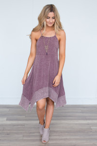 Acid Wash Handkerchief Dress - Plum - FINAL SALE