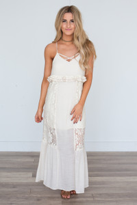 Cross Front Lace Detail Maxi Dress - Cream