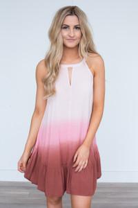 Sleeveless Ombre Keyhole Dress - Blush/Pink/Rust