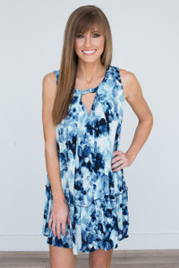 Sleeveless Floral Print Keyhole Dress - Blue