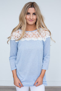 Striped Crochet Lace Top Tunic - Light Blue