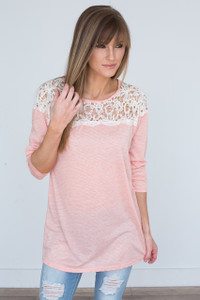 Striped Crochet Lace Top Tunic - Peach