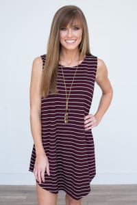 Striped Sleeveless Swing Dress - Maroon