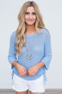 Lace Up Side Sweater - Light Blue - FINAL SALE