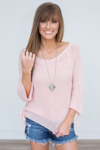 Lace Up Side Sweater - Light Pink - FINAL SALE