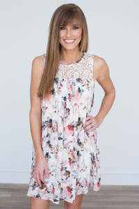 Floral Print Lace Top Dress - Ivory Multi