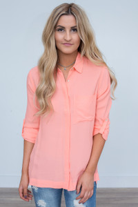 High-Low Button Down Tunic - Peach