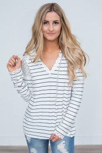 Striped Raglan Pullover - Ivory/Navy