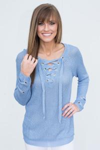 Lightweight Lace Up Sweater - Light Blue - FINAL SALE